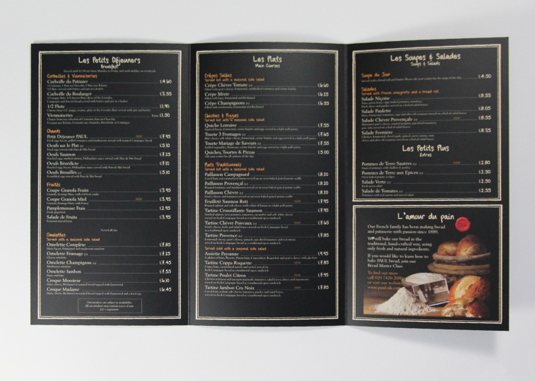 Paul Bakery Cafe Menu